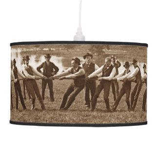 1890's Men Women Tug of War Tug-O-War Photograph Pendant Lamp