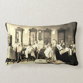 1890's Mens Barber Shop Hair Salon Photograph Lumbar Pillow