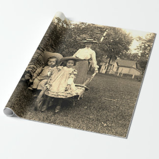 1890's Photo Heirloom Garden Mother Daughters girl Wrapping Paper