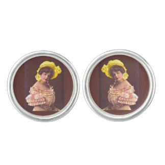 1890s woman in frilly attire cuff links