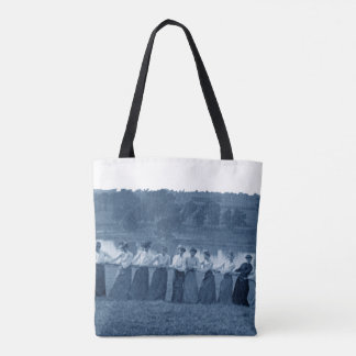 1890's Women Woman Tug-O-War Fox River blue Tote Bag