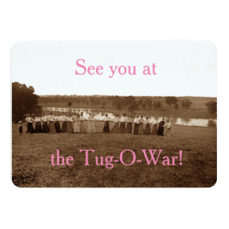 1890's Women Woman Tug-O-War Fox River Elgin IL Card