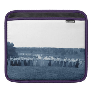 1890's Women Woman Tug-O-War Tug of War blue iPad Sleeve