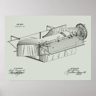 1891 Airship Airplane Patent Art Drawing Print