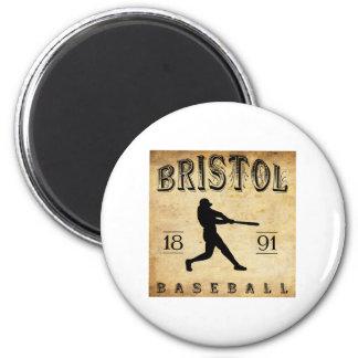 1891 Bristol Connecticut Baseball 2 Inch Round Magnet