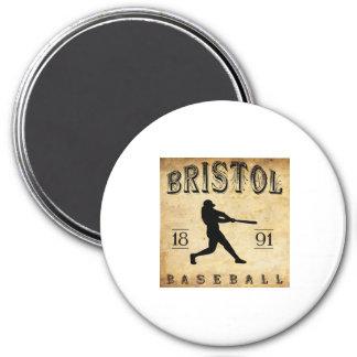1891 Bristol Connecticut Baseball 3 Inch Round Magnet