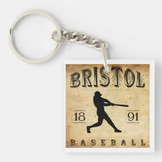 1891 Bristol Connecticut Baseball Double-Sided Square Acrylic Keychain