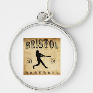 1891 Bristol Connecticut Baseball Silver-Colored Round Keychain