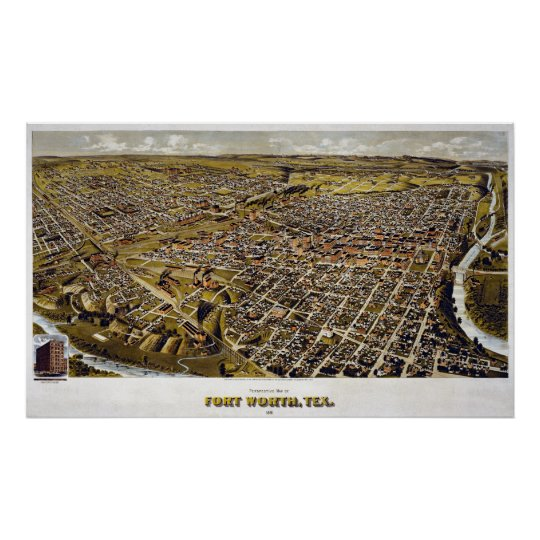 1891 Map of Fort Worth, TX Birds Eye View Poster