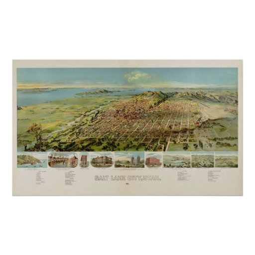 1891 Salt Lake City, UT Bird's Eye Panoramic Map Print