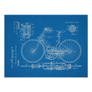 1891 Vintage Bicycle Gear Design Patent Art Print