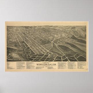 1891 Winston Salem NC Birds Eye View Panoramic Map Poster