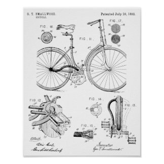 1892 Chainless Bicycle Patent Art Drawing Print