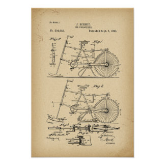 1893 Patent Bicycle Ice velocipede Poster