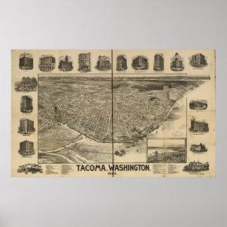 1893 Tacoma, WA Birds Eye View Panoramic Map Poster