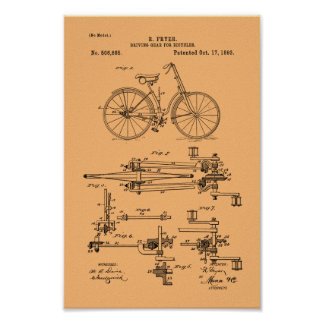 1893 Vintage Bicycle Gears Patent Print