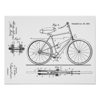 1894 Lever Propelled Bicycle Patent Art Print