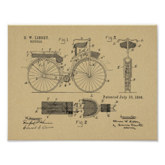 1894 Military Bicycle Patent Art Drawing Print