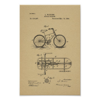 1894 Vintage Bicycle Gearing Patent Art Print