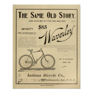 1894 Waverly Indiana Bicycle Ad Art Poster