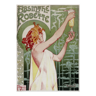 1895 Art Nouveau Absinthe Robette restored Poster