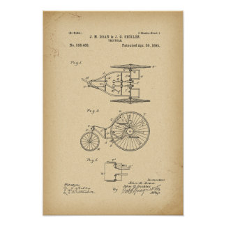 1895 Patent Bicycle Poster