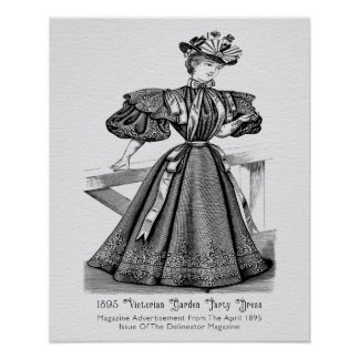 1895 Victorian Garden Party Dress Poster