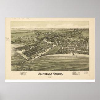 1896 Ashtabula Harbor, OH Birds Eye Panoramic Map Poster