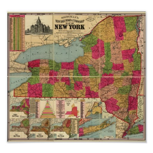 1896 Map of New York's Railroads and Townships Poster