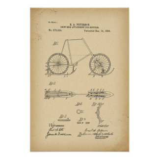1896 Patent Snow shoe attachment for bicycle Poster