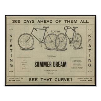 1896 Vintage Keating Bicycle Ad Art Poster