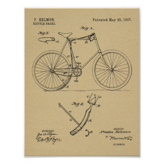 1897 Bicycle Brake Patent Art Drawing Print