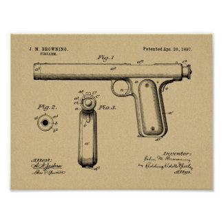 1897 Browning Gun Patent Art Drawing Print