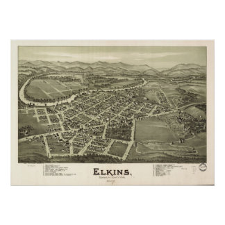 1897 Elkins, WV Bird's Eye Panoramic Map Poster