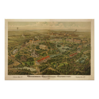 1897 Nashville, TN Centennial Expo Panoramic Map Poster