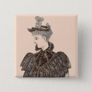 1897 Victorian woman 2 Inch Square Button