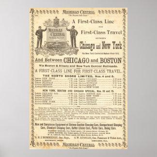 1897 VINTAGE MICHIGAN CENTRAL RAILROAD POSTER