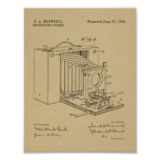 1898 Folding Camera Patent Art Drawing Print