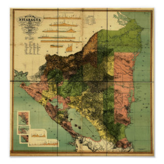 1898 Official Map of Nicaragua Poster