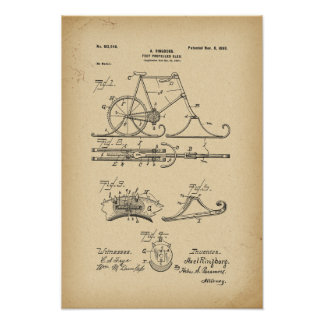 1898 Patent Bicycle Foot propelled sled Poster