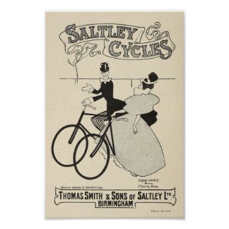 1898 Vintage Bicycle Saltley Cycles Ad Art Poster