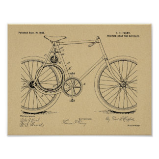 1899 Bicycle Gear Patent Art Drawing Print