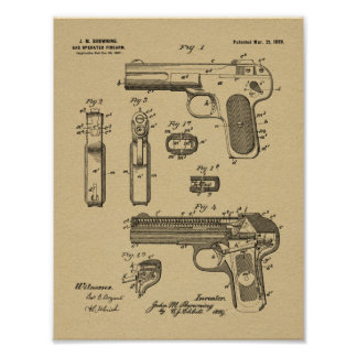 1899 Browning Gun Patent Art Drawing Print