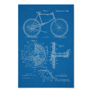 1899 Lever Propelled Bicycle Patent Art Print