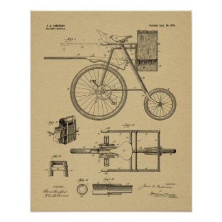 1899 Military Bicycle Patent Art Drawing Print