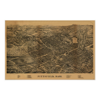 1899 Pittsfield, MA Birds Eye View Panoramic Map Poster