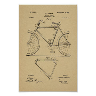 1899 Vintage Bicycle Frame Patent Art Print