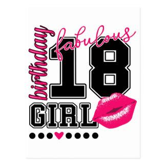 18. Birthday birthday girl congratulations map Postcard