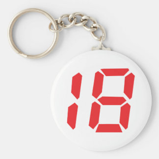 18 eighteen red alarm clock digital number basic round button keychain