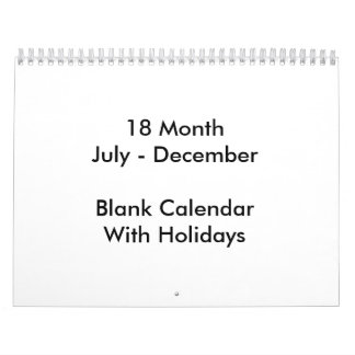 18 Months Blank Calendar With Holidays